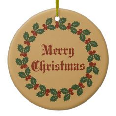 Merry Christmas Wreath Ceramic Ornament - Xmas ChristmasEve Christmas Eve Christmas merry xmas family kids gifts holidays Santa