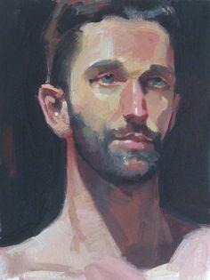 "Art Painting Portrait ""Deep Blue Gaze"" original oil by Sarah Sedwick, available on Etsy"