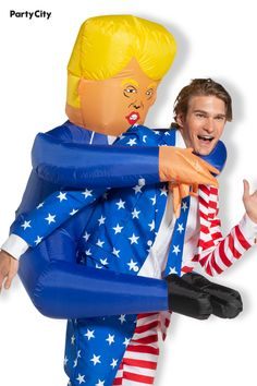 Do you have your candidate's back? Because he has yours! This Halloween, you take him around town with you for all your festivities. Featuring his iconic combover and pursed mouth, the costume makes it look like you're giving the mini politician a piggyback. Simply turn on the attached fan to inflate, and you're ready to go. Piggyback Costume, Adult Costumes, Halloween Costumes, Combover, Ready To Go, Fan, Disney Princess, Disney Characters, Halloween Costumes Uk