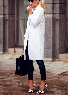 Long white coat and pumps