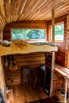 Inside the 16' tiny house is a beautiful collection of native Indiana woods including cherry, red oak, white oak, slippery elm, poplar, maple, and juniper/eastern cedar.