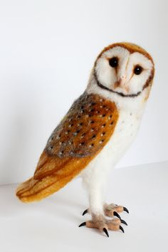 Needle Felted Barn Owl Large Soft Sculpture by YvonnesWorkshop, $245.00