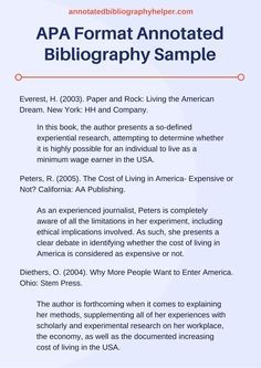 Sample Apa Annotated Bibliography  Fle Ideas    School