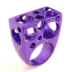 Bubbles Aluminum Ring Purple Coated Large Ring Avant Garde Geometric jewelry OOAK