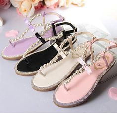 766a090a93324e Summer in Pearl Bow Flat With Flat Thong Sandals Flat Sandals
