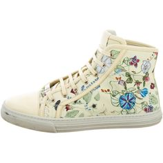 Pre-owned Gucci 2015 Flora Knight High-Top Sneakers ($445) ❤ liked on Polyvore featuring shoes, sneakers, yellow, canvas hi tops, floral canvas sneakers, canvas high top sneakers, canvas shoes and floral print shoes
