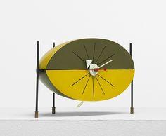 """Watermelon"" Model 2219B Table Clock, Howard Miller Clock Company, 1954 / mid century / mod / atomic age"