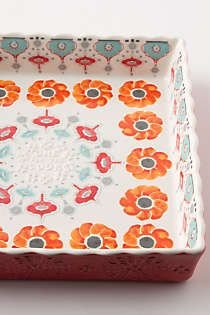 Anthropologie - Poppy Ring Brownie Dish