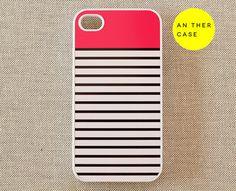 iphone 4 case, iphone 4s case - stripes, pink, white, black. $14.99, via Etsy.