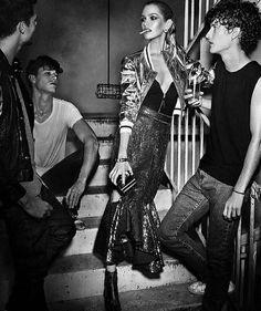 Stella Maxwell at Night Club Pose on Vogue Espana Magazine December 2015 Photoshoot