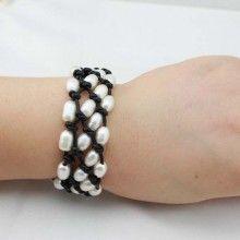 Handmade 3 row black leather 7-8 mm rice freshwater pearl fashion bracelet ETS-B0050