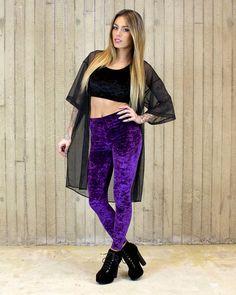Crystal Ball Purple Velvet Leggings made to order by ToothAndEye