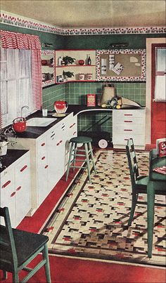 "https://flic.kr/p/5TFkjs | 1945 Kitchen with Congoleum Rug | Congoleum gave Armstrong a run for their money consistently for decades as they both competed for the same flooring market. This kitchen features space to store the ""family wagon"" used for grocery shopping and hauling tired toddlers. It appears to be a patterned lino rug over linoleum flooring. The ad appeared in <i>Ladies Home Journal</i>."