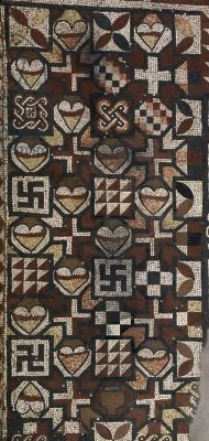 Section of the fourth-century mosaics at Lullingstone Roman Villa, Kent. (Seeing Symbols)