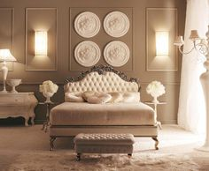 Dramatic Tufted Headboard ~ The Composition of The Entire Room Is Absolutely Gorgeous!!