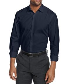 Alfani NEW Neo Navy Blue Textured Mens Size Medium M Button-Front Shirt $49 #736