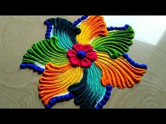 Very easy small and quick rangoli designs by easy rangoli classes - YouTube