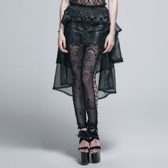 Gothic Steampunk Black Women Personality Fashionable Multi-layer Trumpet Lace Skirt