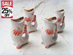 Set of 4 Vintage Soviet Porcelain Fish Shot Glasses 30 by Astra9