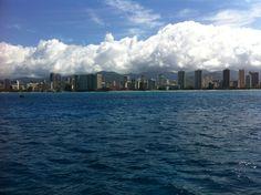 Honolulu from the catamaran, Makani