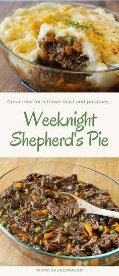 weeknight, shepherd's pie, supper, mashed potatoes, beef, roast, leftovers