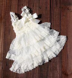 1st Birthday Dress Flower Girl Dresses Ivory flower by jamiepowell