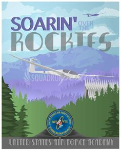 """Check out these stunning """"Air Force Academy"""" vintage style military aviation travel poster art found exclusively at - Squadron Posters! Second Lieutenant, Air Force Academy, Office Prints, Military Academy, School Posters, Education And Training, Air Show, Gliders"""