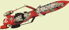 Thunderbird 3 cutaway drawing from Supermarination (Novros II, J.L., 1995 - 2012)