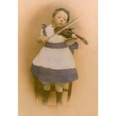 Vintage Photograph DOWN SYNDROME Girl Playing Violin by FiddlePics, $8.00