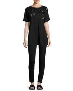 Short-Sleeve+Tunic+w/+Paillette+Flowers,+Black,+Plus+Size++and+Matching+Items+by+Joan+Vass+at+Neiman+Marcus.