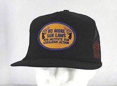 595085e075954 Vintage NRA No More Gun Laws Patch Black Trucker Baseball Cap Snapback USA  Made  PCap