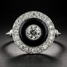 Platinum Diamond and Onyx Art Deco Style Ring - Vintage Engagement Rings