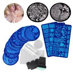 Biutee 13Pcs Flower Forest Image Nail Plates + 2 Stamper Scraper Sets Nail Art Stamping Plates Nail Stamp Plate Nail Art Tools