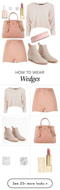 """""""Rose gold"""" by janeanderson6203 on Polyvore featuring River Island, Prada, Tory Burch and Essie"""