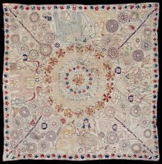 Kantha (Embroidered Quilt) Artist/maker unknown, Bengali Geography: Made in Faridpur District, Bangladesh, Asia or West Bengal, India, Asia Date: Late 19th century Medium: Cotton plain weave with cotton embroidery in back, buttonhole, darning, satin, running, and fishbone stitches Dimensions: 34 3/4 x 34 3/4 inches (88.3 x 88.3 cm)