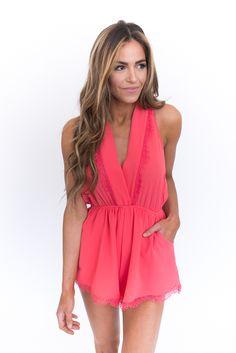 Coral Lace Trim Romper - Dottie Couture Boutique
