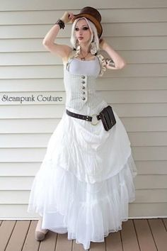 Steampunk Couture Kato White/ivory long dress, belt, ivory vest stripes with ruffles. And a brown top hat.