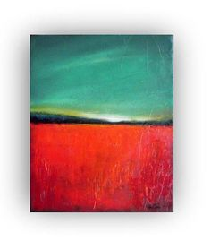 Poppy Field- Original oil painting- abstract landscape painting- palette knife-8x10- reduced via Etsy