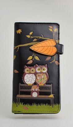 OWLS ON PARK BENCH~ BLACK ZIP AROUND ORGANIZER  WALLET SHAGWEAR NWT & GIFT BOX #SHAGWEAR #BifoldWallet
