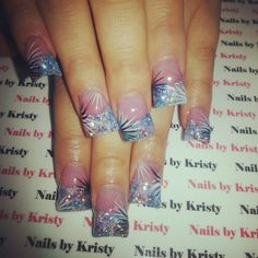 Nails #NailsbyKristy# #pureplatinumsalonandspa acrylic glitter tips wide c cut curved acrylic nails