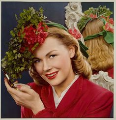 Nickolas Muray, McCall's Magazine, Woman in flowered hat holding compact, 1937 1940s Fashion, Vintage Fashion, Vintage Beauty, Nickolas Muray, Vintage Colors, Vintage Floral, Vintage Style, Color Photography, Vintage Photography