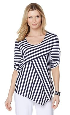 Slinky® Brand Striped Tunic with Roll Tab Sleeves Casual Wear, Casual Outfits, Fashion Outfits, Womens Fashion, Blouse Styles, Blouse Designs, Clothing Patterns, Dress Patterns, Designer Casual Shirts