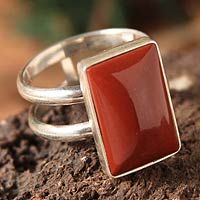 Jasper cocktail ring, 'Passion' by NOVICA
