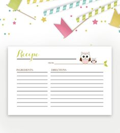 Baby Shower Recipe Card – Green Pink Owl – Instant Download Printable