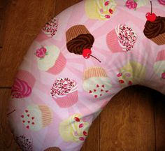 Buttercream Cupcake Boppy Cover, Pink Cupcake Designer Print Nursing Cover