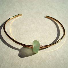 Sea Glass Cuff Bangle- Sea Foam Seaglass Jewelry -Brass Wire Wrap. $14.00, via Etsy.