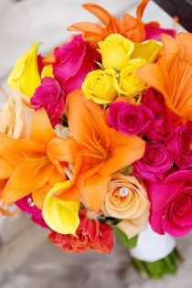 Bright and bold summer wedding bouquet Pink Flowers, Beautiful Flowers, Beach Flowers, Bright Flowers, Bouquet Flowers, Summer Flowers, Yellow Flowers, Pink Roses, Wedding Bouquets