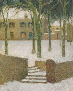 Henri Le Sidaner (French, 1862-1939), La Place, Nemours, 1930. Oil on canvas, 92 x 73 cm.