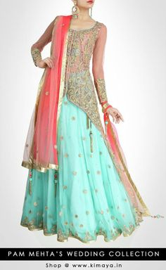 Define the feminine charm within you with this beautiful lehenga adorned with zardosi work all over in elegant sea green & coral shades.