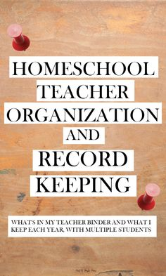 Homeschool Teacher Organization and Record Keeping - 10 Days of Homeschool Planning! Find out how I organize my homeschool binder and what records I keep in it, along with my record keeping storage for each child and each year.
